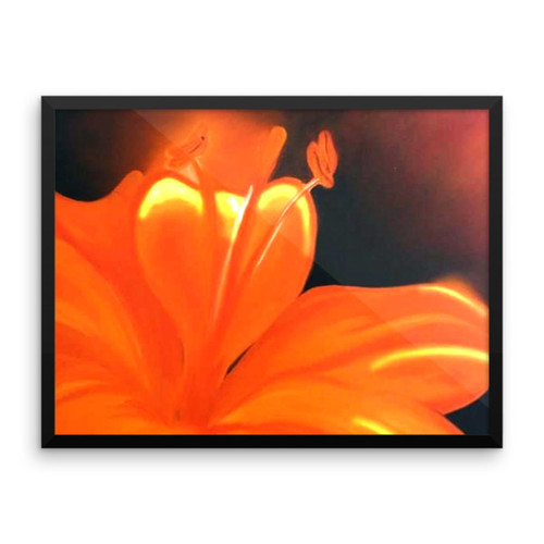 Orange Hibiscus Framed Poster