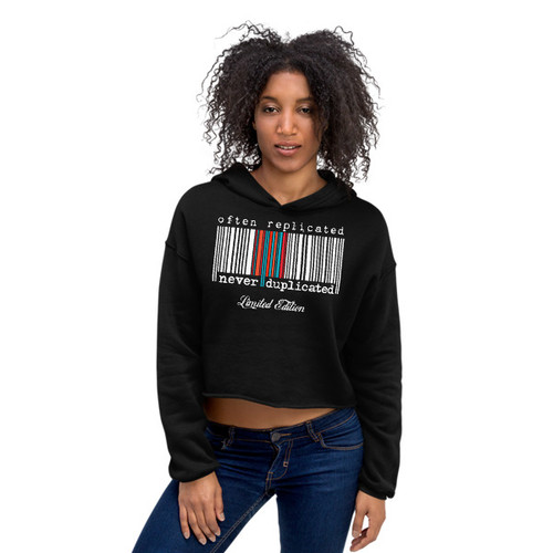 Often Replicated Never Duplicated Cropped Hoodie