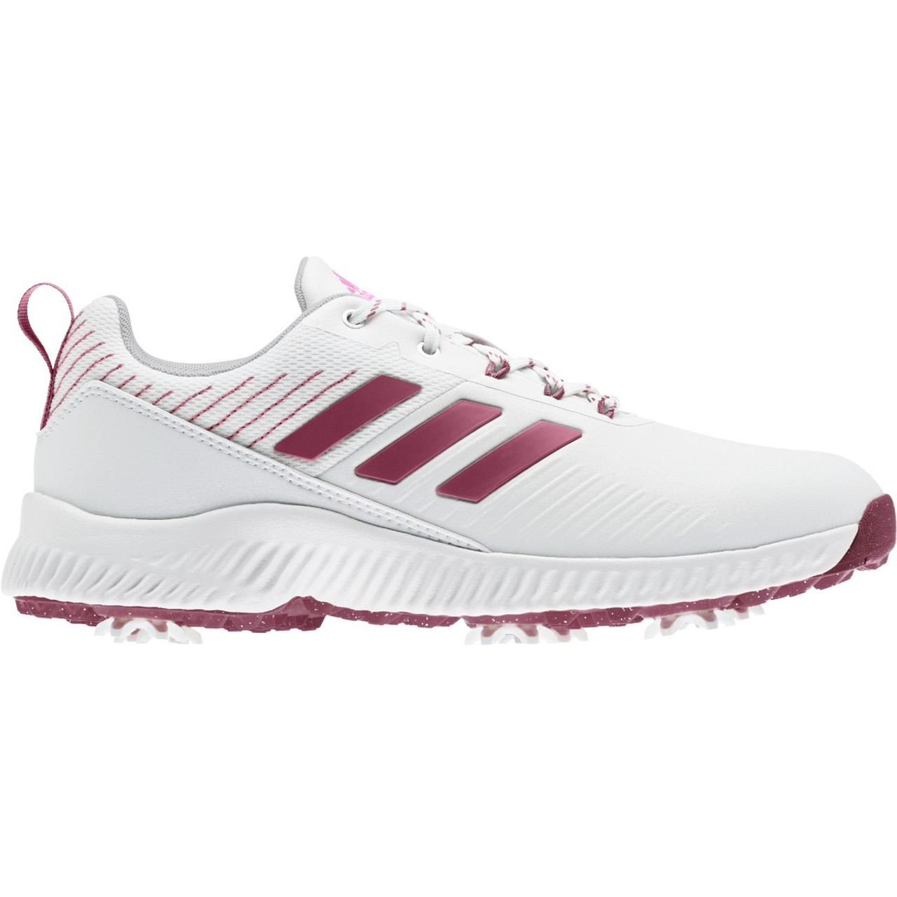 Adidas Womens Response Bounce 2.0 Golf Shoes - White / Wild Pink / Screaming Pink