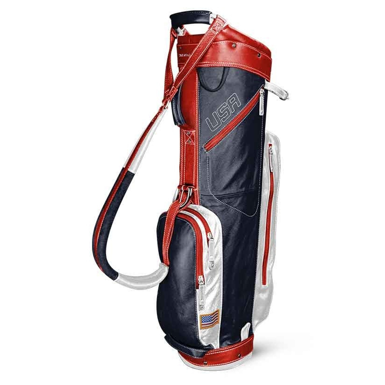 Sun Mountain Leather Cart Bag - Navy / White / Red