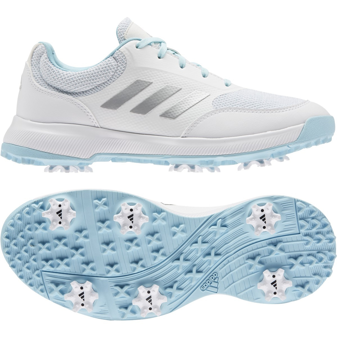 Adidas Womens Tech Response Golf Shoes - White / Silver / Hazy Sky