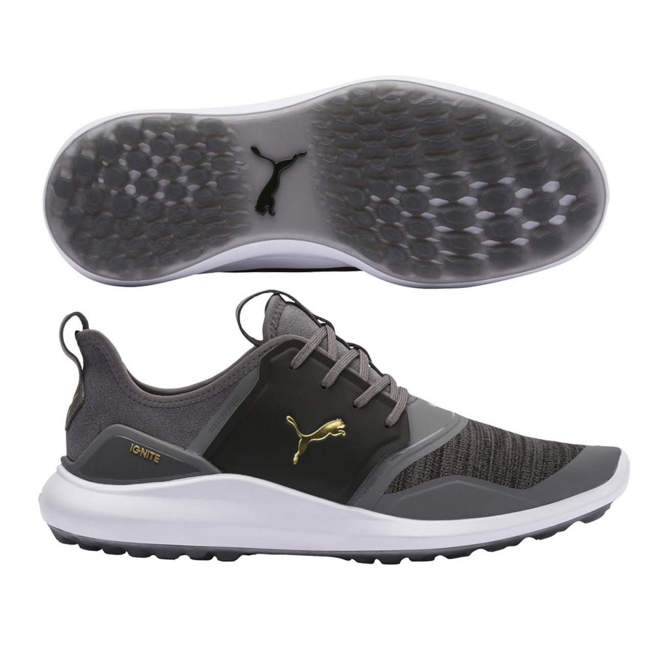 Puma IGNITE NXT Lace Golf Shoes - Quiet Shade / Puma Team Gold / Puma Black