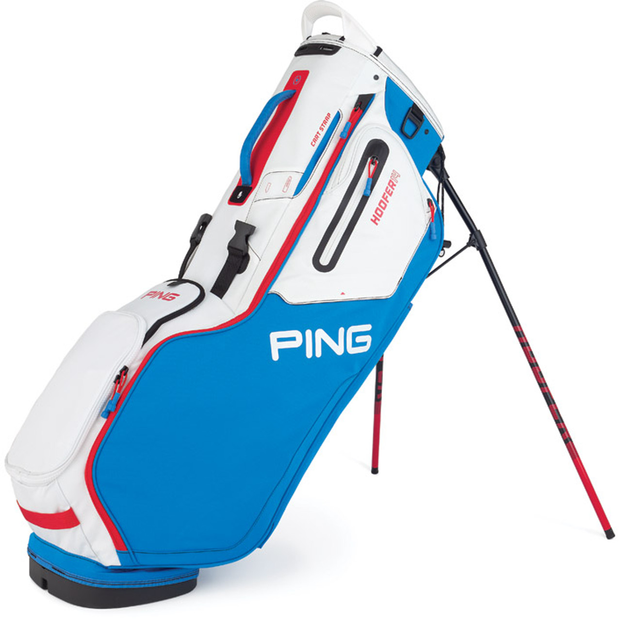 Ping Hoofer 14 Personalized Stand Bags - Bright Blue / White / Scarlet