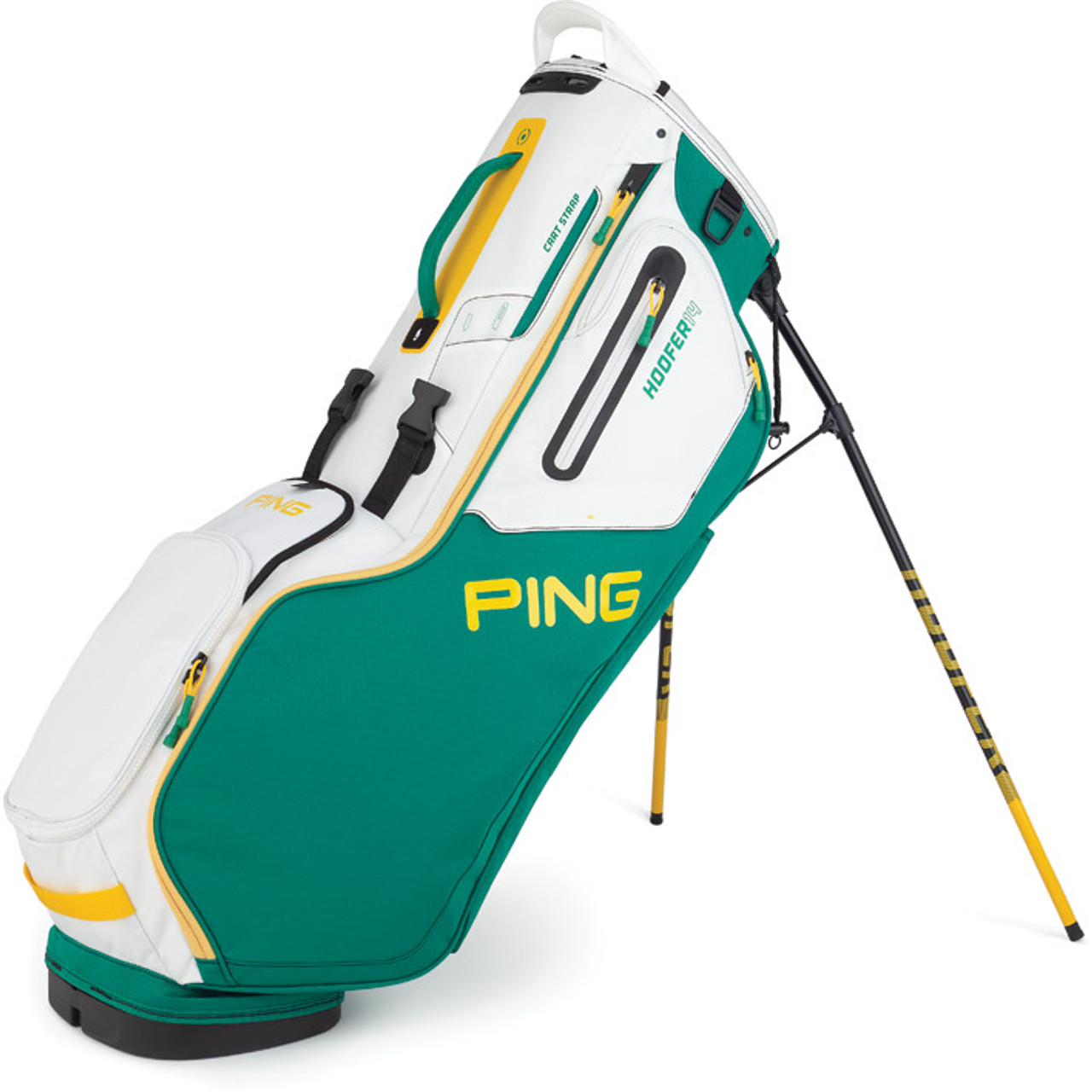 Ping Hoofer 14 Personalized Stand Bags - Emerald / White / Yellow