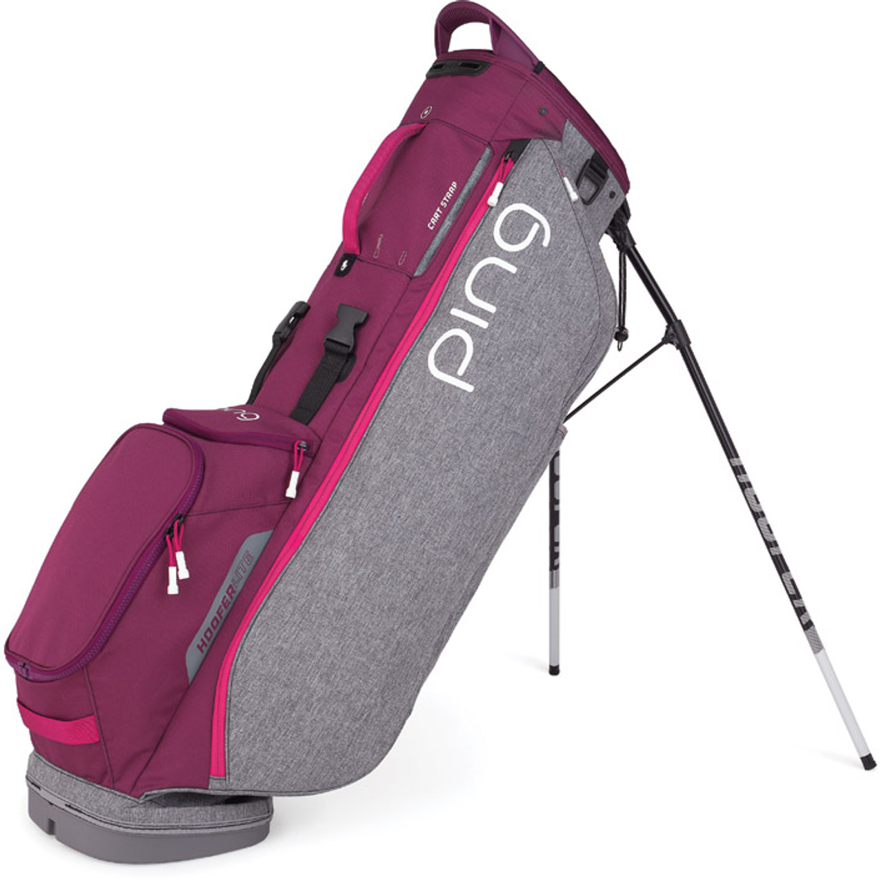 Ping Hoofer Lite Personalized Stand Bags - Heather Grey / Garnet / Magenta