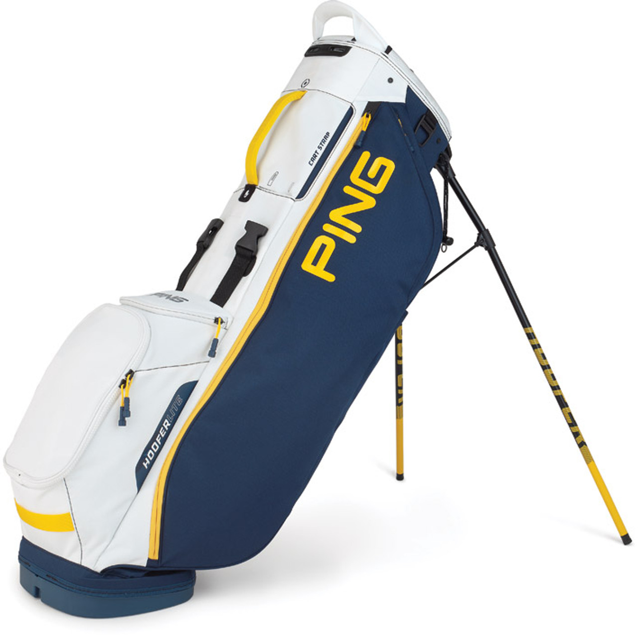 Ping Hoofer Lite Personalized Stand Bags - Navy / White / Yellow