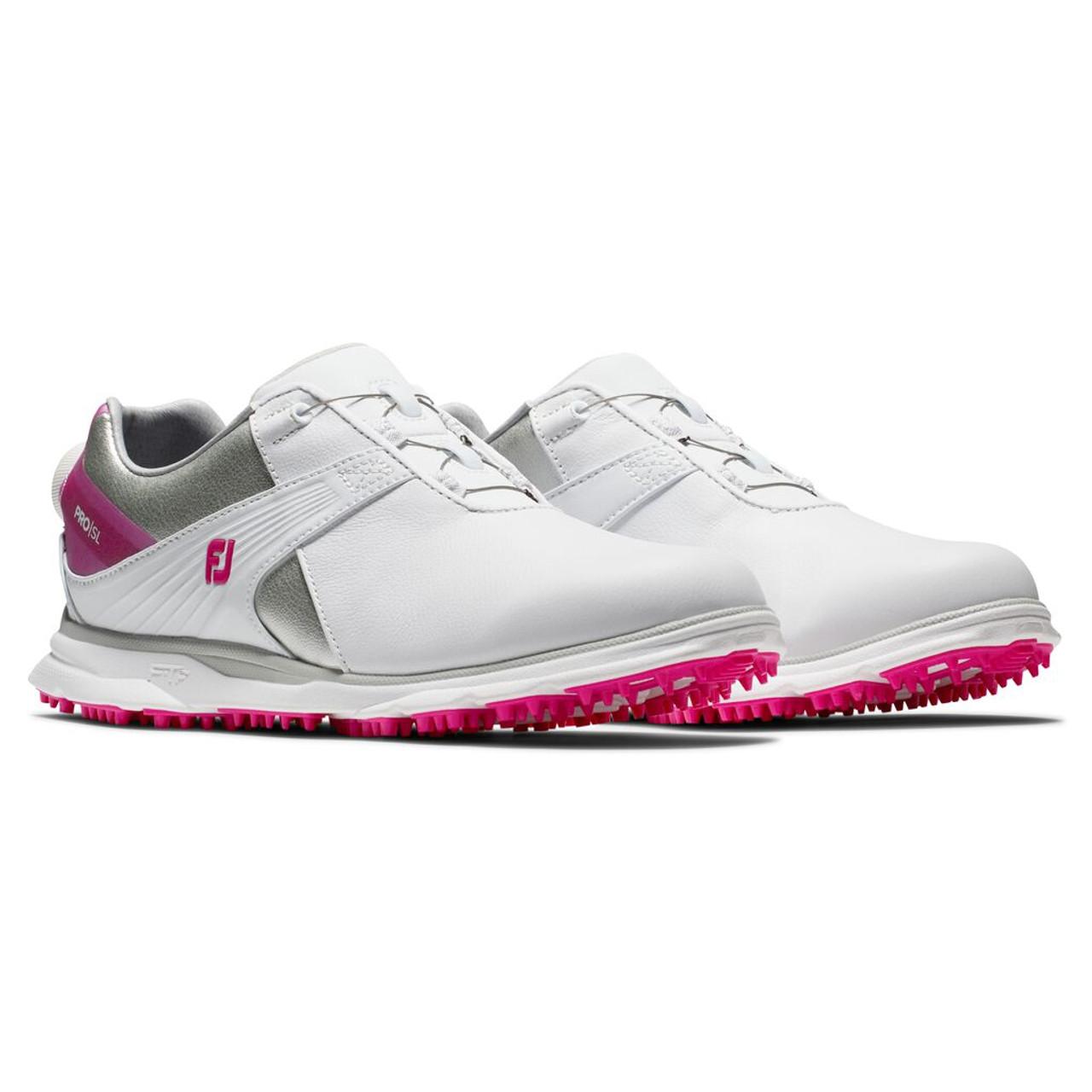 FootJoy Pro SL Womens BOA Golf Shoes - White / Silver / Rose (98119)