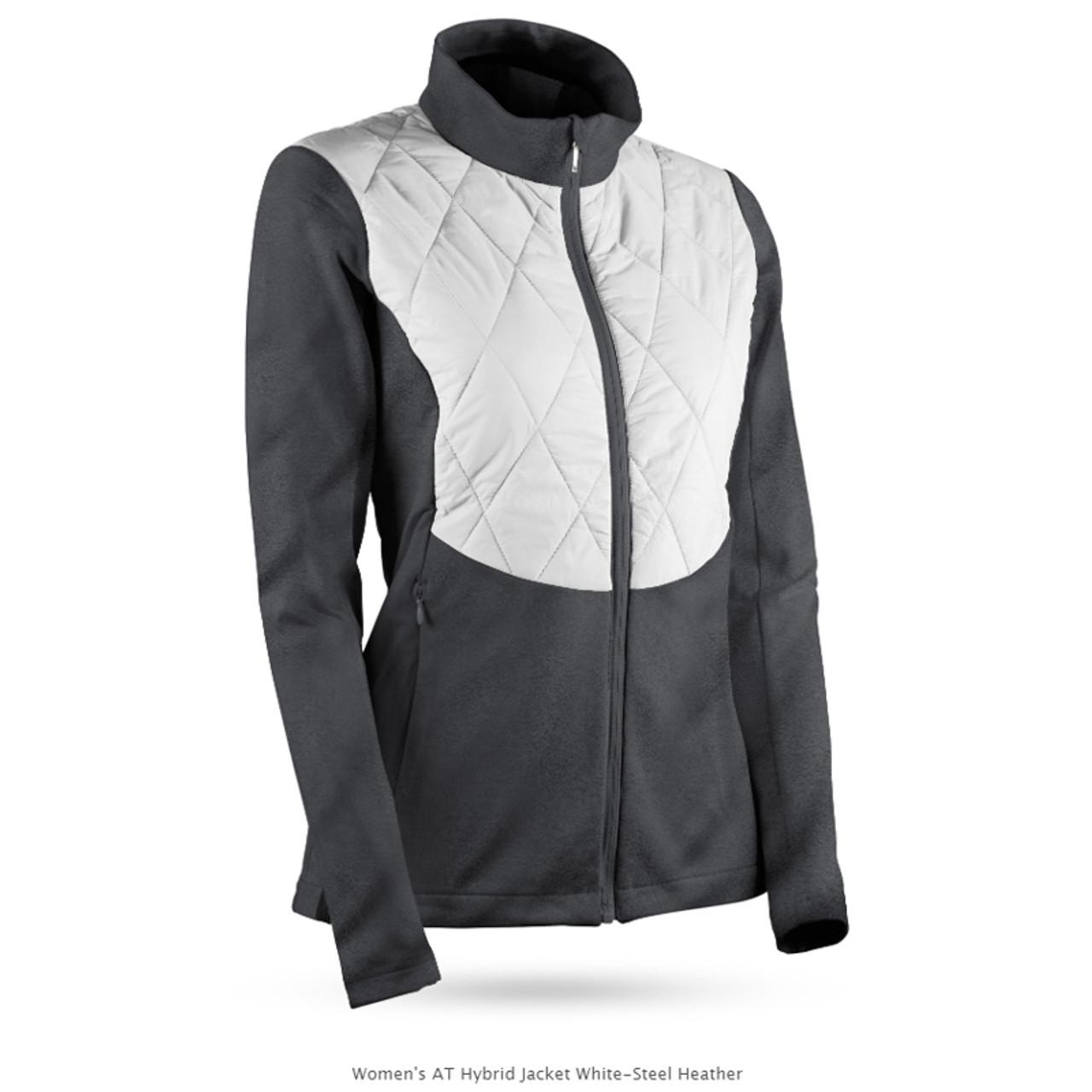 Sun Mountain Womens AT Hybrid Jacket - White / Steel