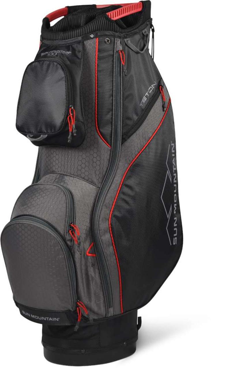 Sun Mountain Teton Cart Bag - Black / Gunmetal / Red