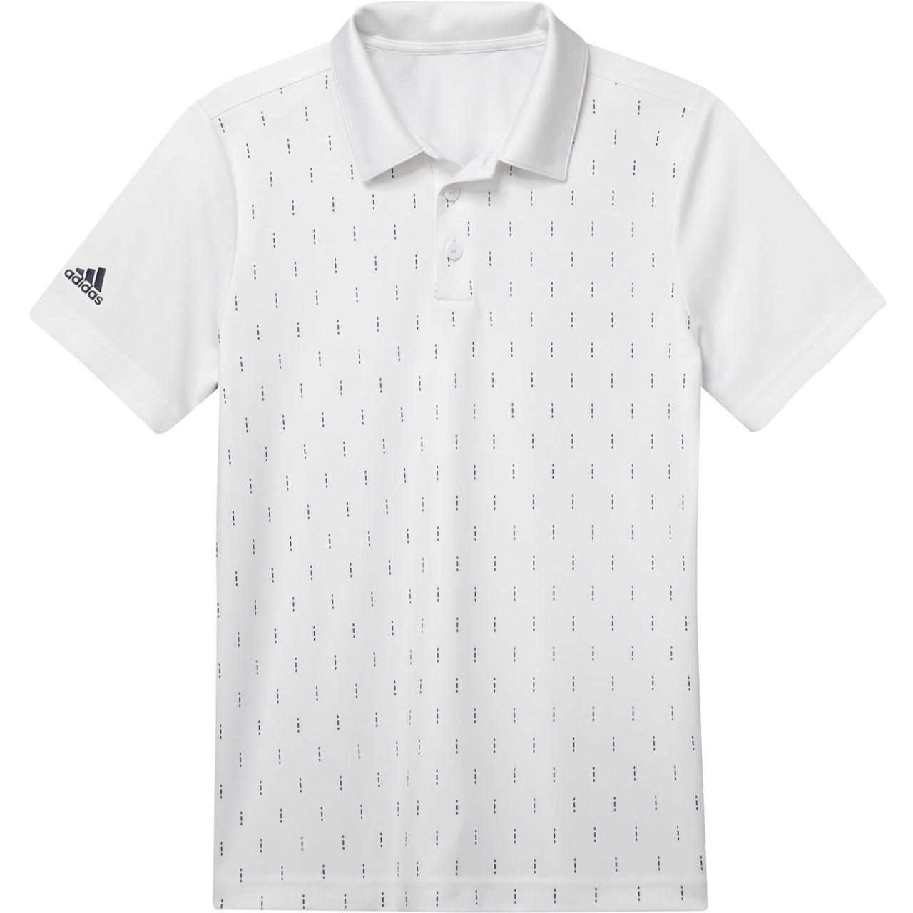 Adidas Boys Graphic Print Polo - White / Dark Blue