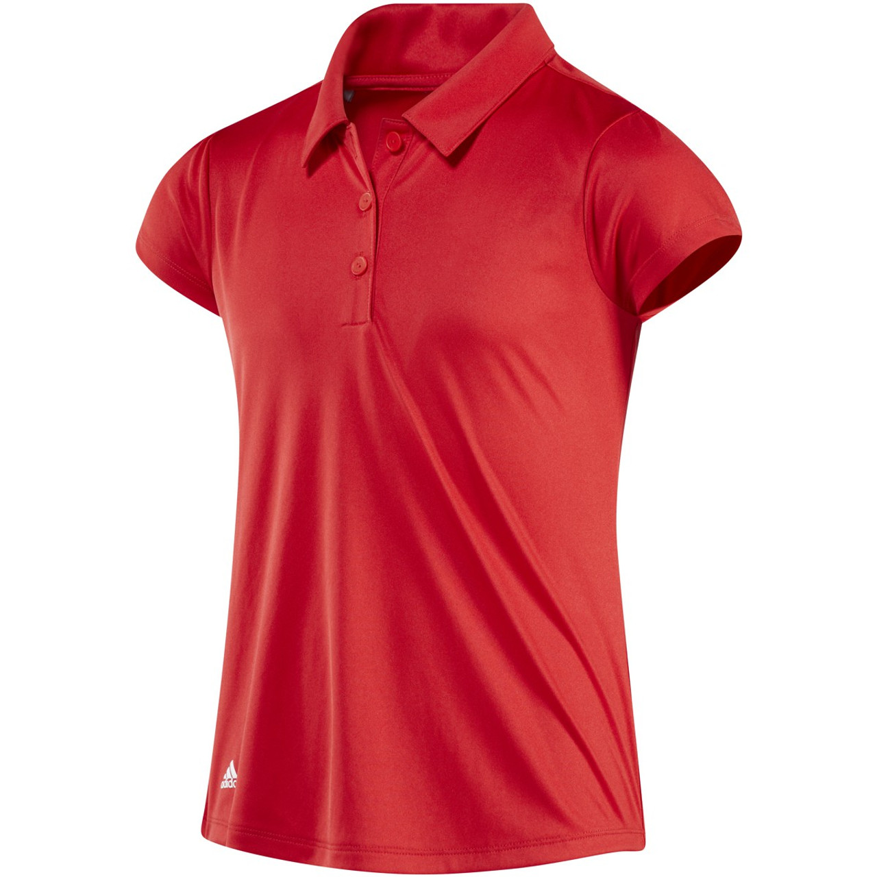 Adidas Girls 3-Stripe Solid Polo - Collegiate Red