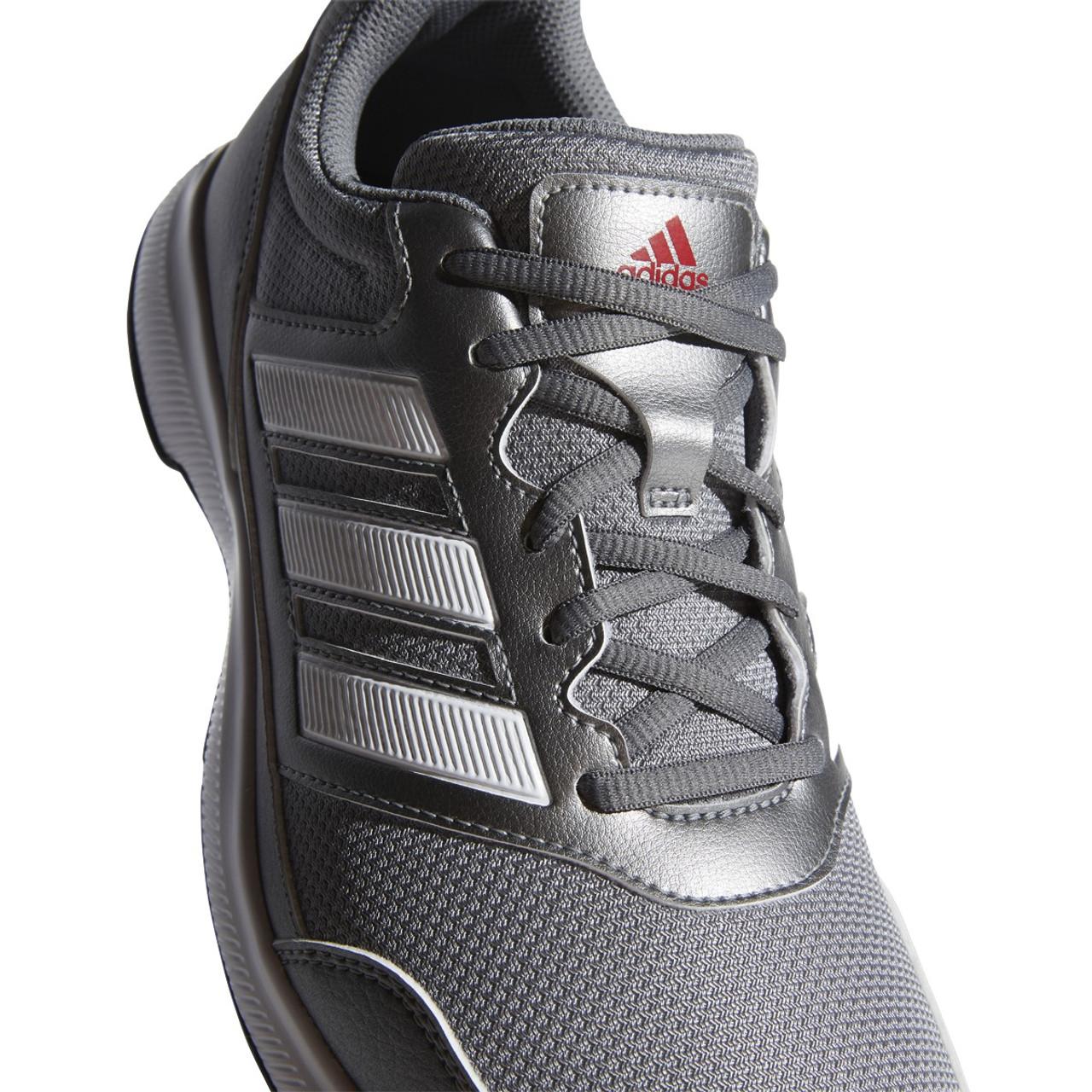 Adidas Tech Response 2.0 Golf Shoes - Iron Metallic / White / Scarlet