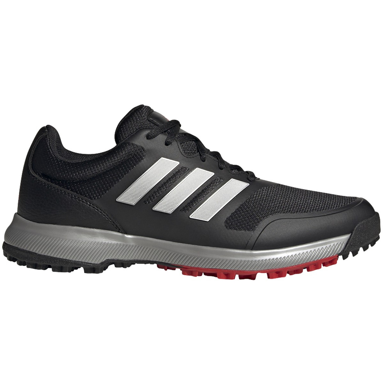 Adidas Tech Response Spikeless Golf Shoes - Black / Silver / Scarlet