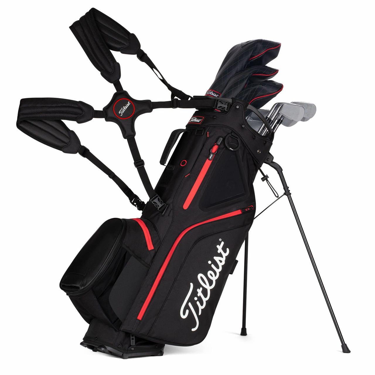 Titleist Hybrid 5 Golf Bag 2021 - Black / Black / Red