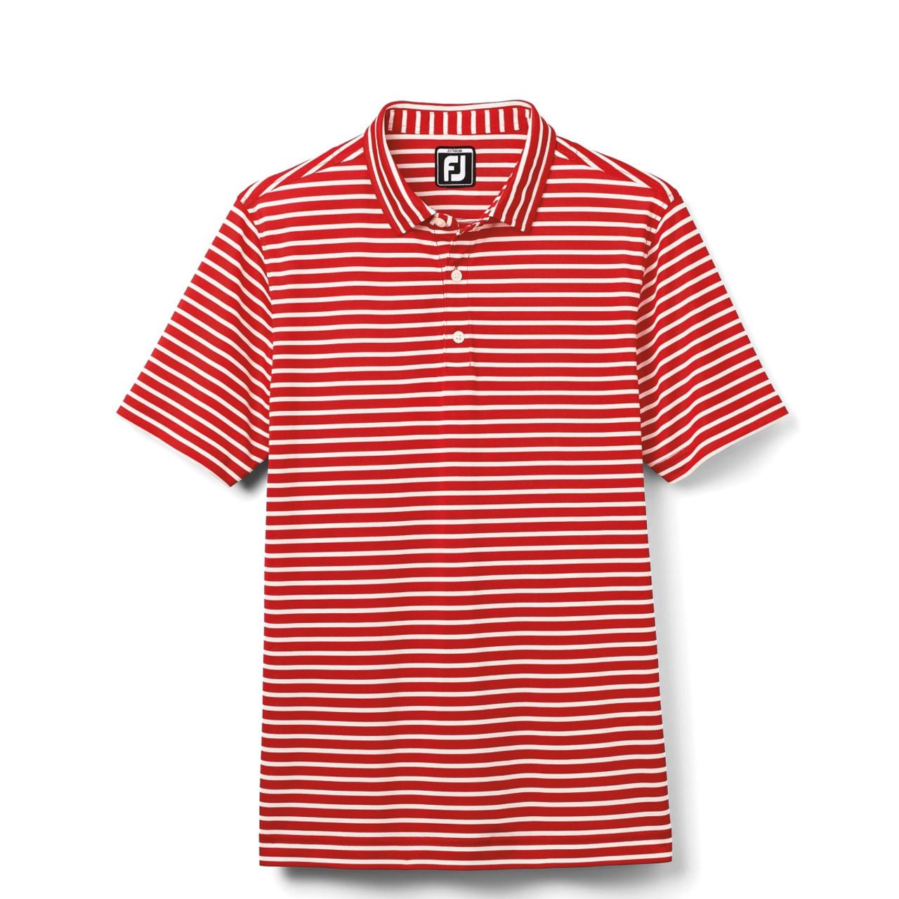FootJoy Junior Striped Pique Polo - Red / White (26636)