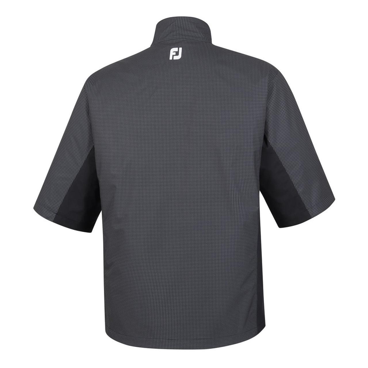 FootJoy FJ Hydrolite Short Sleeve Rain Shirt - Charcoal / Black Houndstooth (23778)