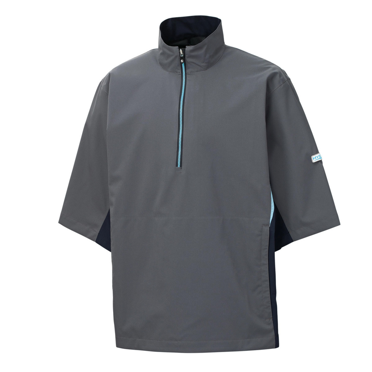 FootJoy FJ Hydrolite Short Sleeve Rain Shirt - Charcoal / Navy / Light Blue (23797)