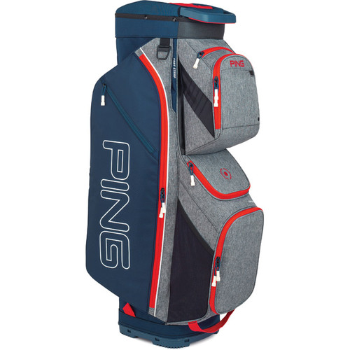 Ping Traverse Personalized Cart Bag - Heather Grey / Navy / Scarlet