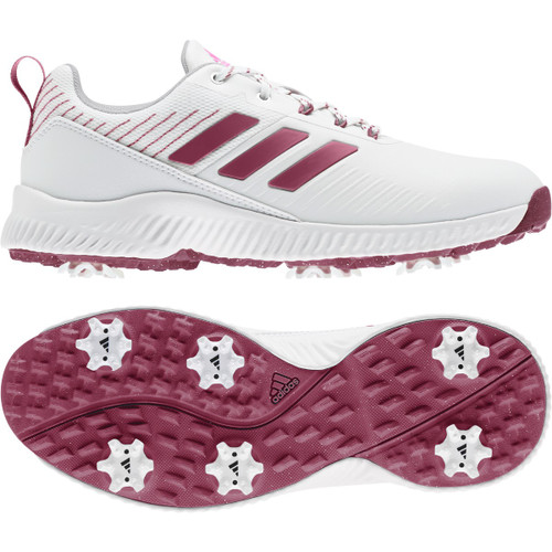 Adidas Womens Response Bounce 2.0 Golf Shoes - White / Wild Pink / Silver Metallic