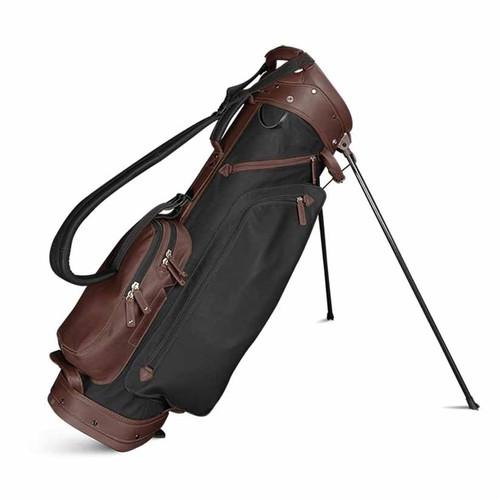 Sun Mountain Leather Stand Bag - Black / Dark Brown