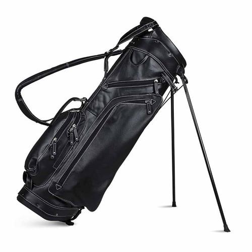 Sun Mountain Leather Stand Bag - Black / White