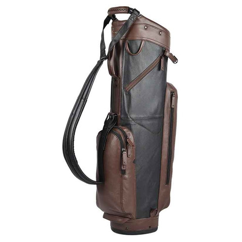 Sun Mountain Leather Cart Bag - Black / Dark Brown