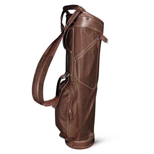 Sun Mountain Leather Sunday Bag - Dark Brown / Khaki