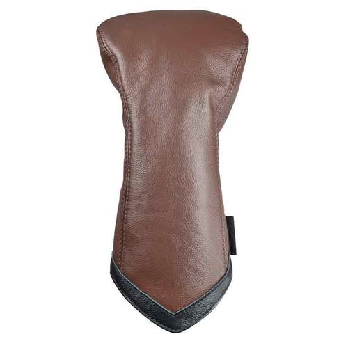 Sun Mountain Leather Driver Headcover - Brown / Black Chevron