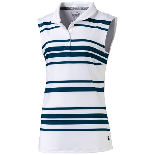 Puma Girls Stripe Sleeveless Polo- Gibraltar Sea