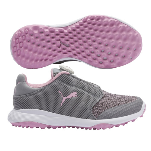 Puma Grip Fusion Sport Junior Golf Shoes - Limestone / Lilac Sachet