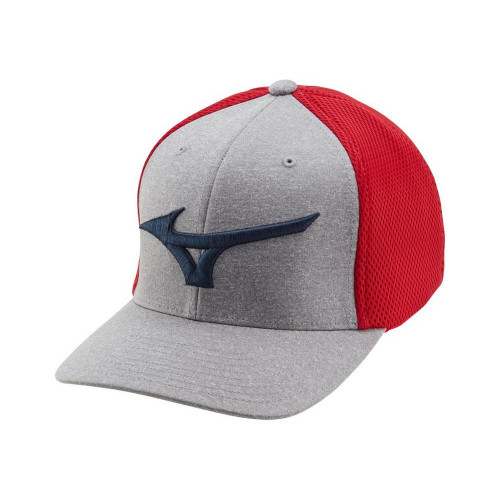 Mizuno Fitted Meshback Cap - Red / Navy