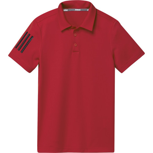 Adidas Boys Performance 3-Stripe Polo - Collegiate Red