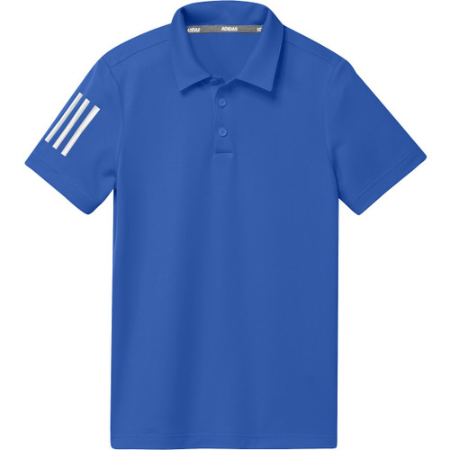 Adidas Boys Performance 3-Stripe Polo - Glory Blue