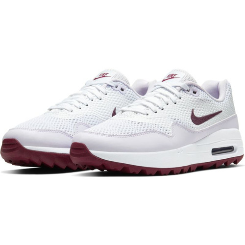 Nike Womens Air Max 1 G Golf Shoes - White / Villain Red / Barely Grape