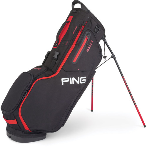 Ping Hoofer Personalized Stand Bags - Black / Scarlet