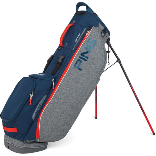 Ping Hoofer Lite Personalized Stand Bags - Heather Grey / Navy / Scarlet