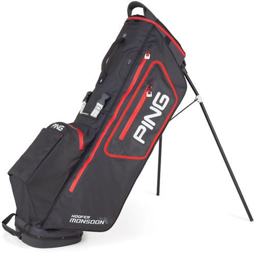 Ping Hoofer Monsoon Personalized Stand Bags - Black / Scarlet / White