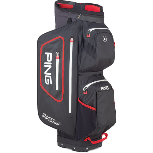 Ping Pioneer Monsoon Personalized Cart Bags - Black / Scarlet / White