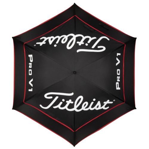 Titleist Tour Double Canopy Umbrella - Black / Black / Red