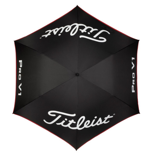 Titleist Tour Single Canopy Umbrella - Black / Black / Red