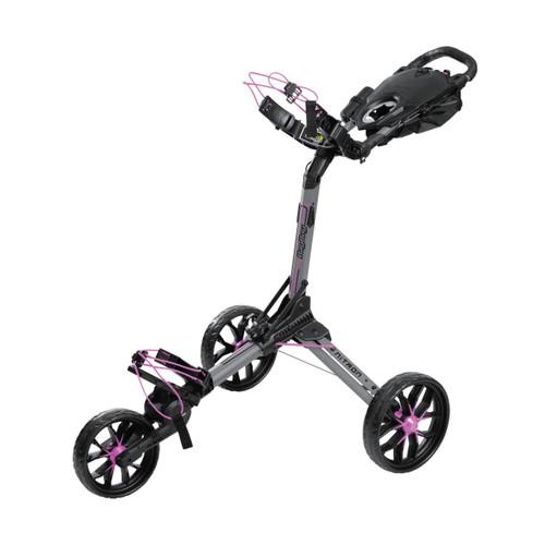 BagBoy Nitron Auto-Open Push Cart - Battleship Grey / Pink
