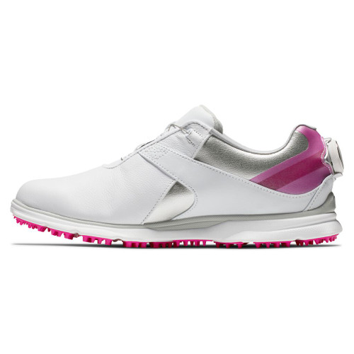 FootJoy Pro SL Womens BOA Golf Shoes - White / Silver / Rose (98119)