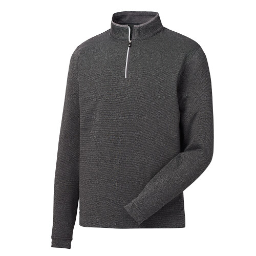 FootJoy Lt Weight Striped 1/2 Zip Pullover - Heather Charcoal / Black (25148)