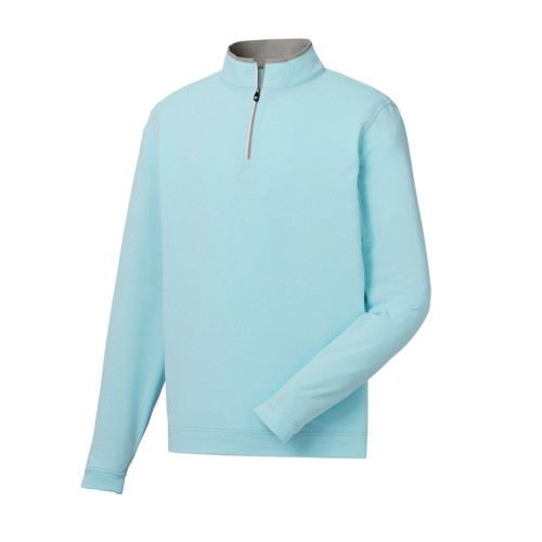 FootJoy Lt Weight Striped 1/2 Zip Pullover - Grey / Ice Blue (25206)