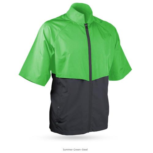 Sun Mountain Headwind Short Sleeve Jacket - Summer Green / Steel