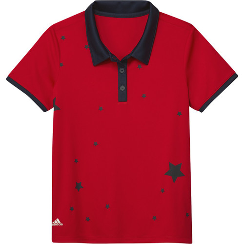 Adidas Girls Printed Short Sleeve Polo - Red
