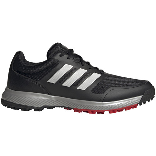 Adidas Tech Response Spikeless Golf Shoes - Black / Silver / Scarlet