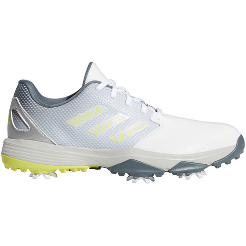 Adidas ZG 21 Junior Golf Shoes- White / Acid Yellow / Blue Oxide