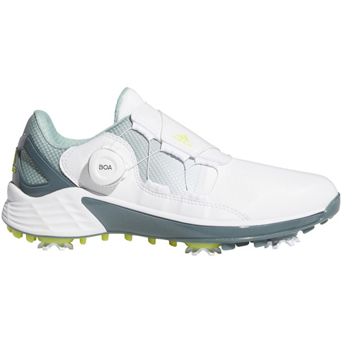 Adidas Womens ZG 21 BOA Golf Shoes - White / Acid Yellow / Hazy Green