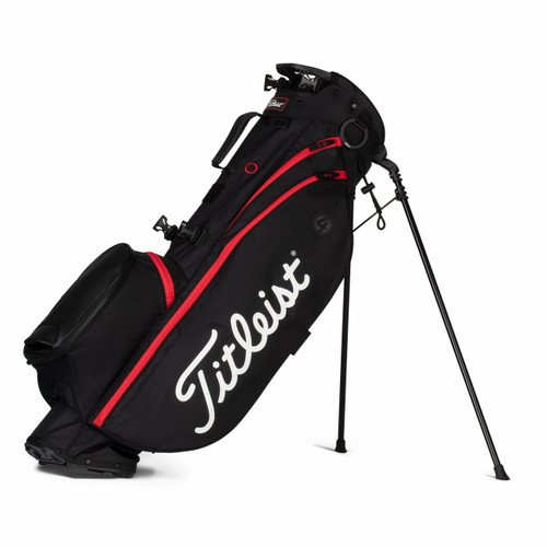 Titleist Players 4 Stand Bag 2021 - Black / Black / Red